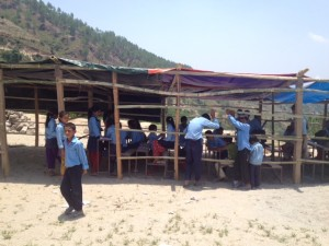 Students under the shelter